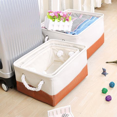 Foldable Polyester Storage Basket or Bin with Durable Cotton Handles