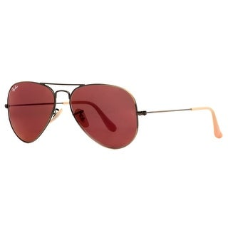 RAY-BAN Aviator RB 3025 Unisex 167/2K Brushed Bronze Red Mirror Sunglasses - Brushed Bronze - 55mm-14mm-135mm