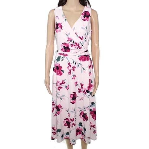 Lauren by Ralph Lauren Womens Pink Size 0 Surplice Neck A-Line Dress