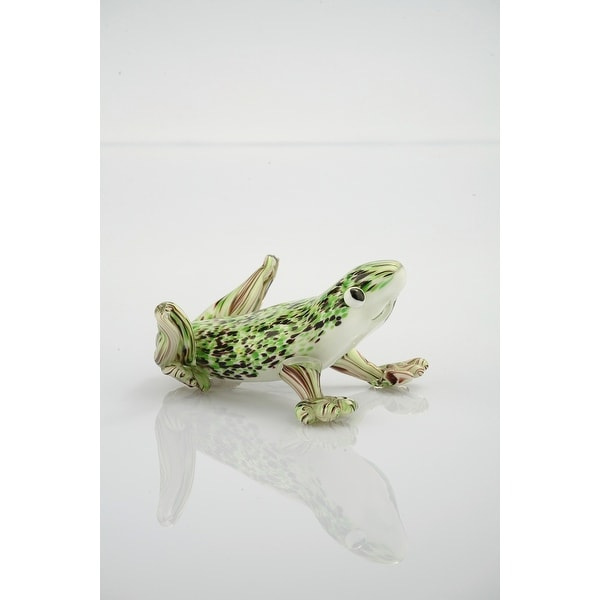 """6.5"""" Green and White Decorative Glass Frog Figurine - N/A"""