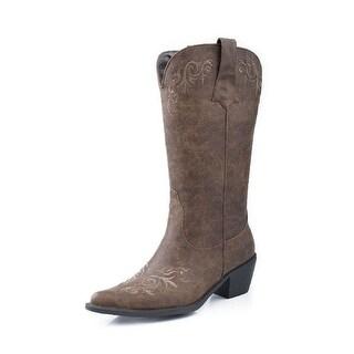 "Roper Western Boots Womens 12"" Scroll Tan Antiqued 09-021-1556-0733 TA"