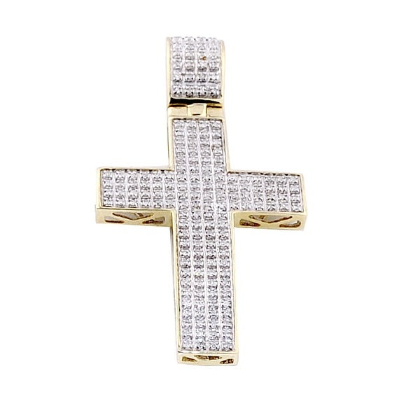 1/2cttw Diamond Cross Pendant 48mm Tall 10K Yellow Gold Mens Charm(i2/i3, I/j) By MidwestJewellery - White