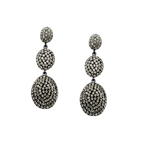 Crystaluxe Triple Drop Earrings with Slate Swarovski Crystals in Sterling Silver - Grey