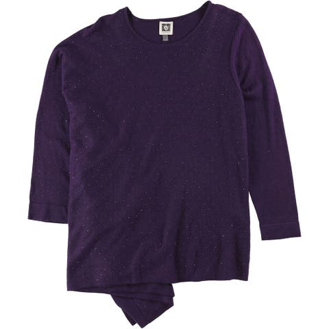 Anne Klein Womens Studded Pullover Sweater, Purple, Small