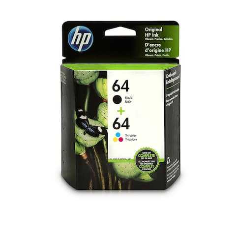 HP 64 Black & Tri-Color Original Ink Cartridges, 2 Cartridges (N9J90AN, N9J89AN)X4D92AN - black and color