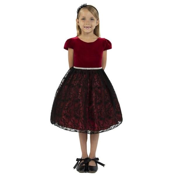 57209ce7e3ed9 Shop Kids Dream Girls Red Velvet Lace Rhinestone Trim Christmas ...