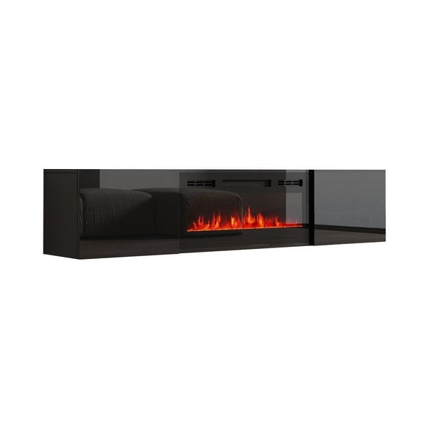 """Cali EF Wall Mounted Electric Fireplace Modern 72"""" TV Stand. Opens flyout."""