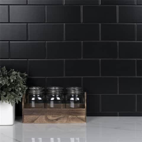 SomerTile 3 x 6-Inch Crown Heights Matte Black Ceramic Wall Tile (44 Tiles/6.03 sqft.)