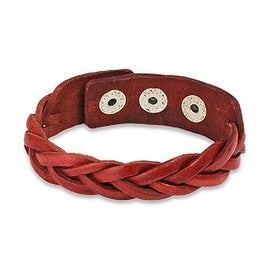 Red Braided Leather Snap Bracelet (16 mm) - 7.75 in