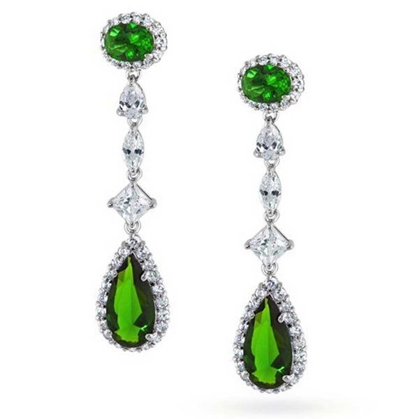 341f2c4a1e183 Long Green Cubic Zirconia Teardrop Pear Shape Imitation Emerald CZ  Chandelier Earrings For Women Rhodium Plated Brass