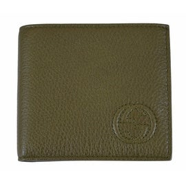 NEW Gucci Men's 322115 Olive Green Pebbled Leather Interlocking GG Bifold Wallet