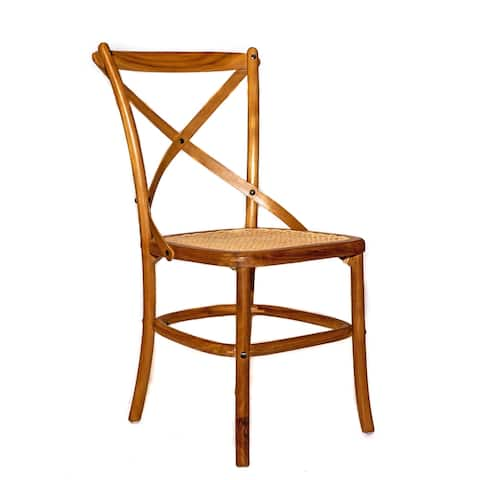 Teak Wood Side Chair with Natural Rattan Seat, 34.25 Inches Tall