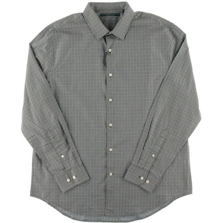 Perry Ellis Mens Checkered Collared Button-Down Shirt