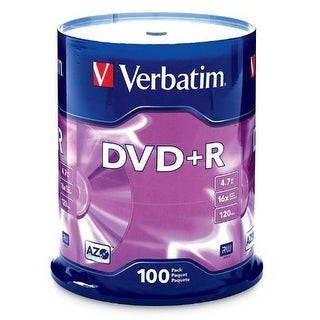Verbatim G35491 S Verbatim 4.7 GB up to16x Branded Recordable Disc DVD+R 100 Disc Spindle 95098