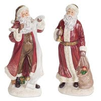 Set of 4 Red and White Traditional Victorian Style Santa Claus Christmas Table Toppers 10""