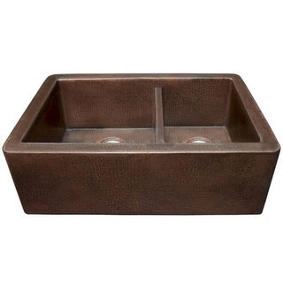 """Native Trails CPK76 Farmhouse 33"""" Double Basin 16 Gauge Hammered Copper Kitchen Sink for Undermount or Farmhouse Installations"""