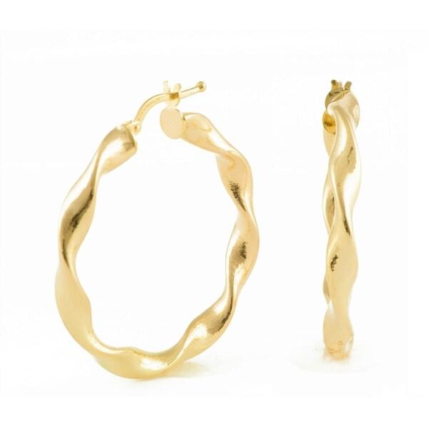 Mcs Jewelry Inc 10 KARAT YELLOW GOLD ROUND TWISTED DIAMOND CUT HOOP EARRINGS (DIAMETER: 29MM)