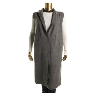 Eileen Fisher Womens Plus Merino Wool Collar Vest