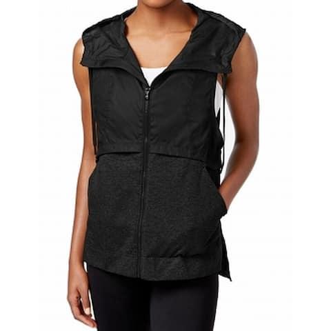 Under Armour Women's Black Size Medium M Mixed Media Hooded Vest Jacket