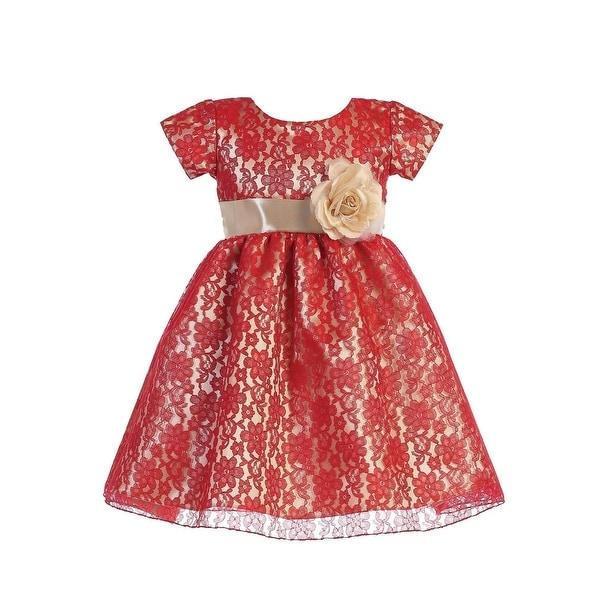 f254ad878a143 Lito Girls Red Gold Lace Shiny Satin Underlay Stylish Christmas Dress