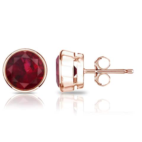 Auriya 14k Gold 3/4ctw Bezel-set Ruby Gemstone Stud Earrings