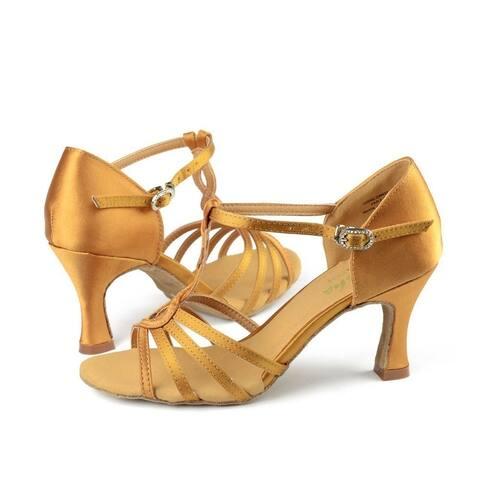 Sansha Adult Gold Satin Upper Woven T-Bar Rosalia Ballroom Shoes Womens