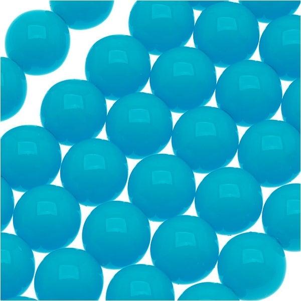 Czech Glass Round Party Beads 6mm - Neon Aqua (1 Strand / 29 Beads)