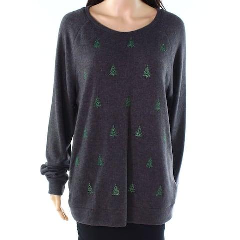 Moa Moa Gray Womens Size Small S Xmas-Tree Scoop Neck Sweater