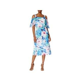 Nine West Womens Plus Maxi Dress Chiffon Floral Print