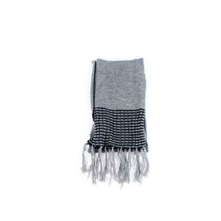 Calvin Klein NEW Charcoal Gray One Size Tassle Hem Striped Knit Scarf