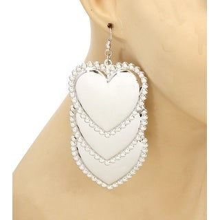 Hearts Drop Earrings - Silver