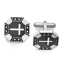 Chisel Stainless Steel Matte Black IP Cross Cuff Links