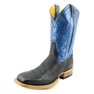Rod Patrick Ostrich Men Square Toe Leather Black Western Boot