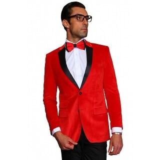MZV-410 RED Men's SLIM FIT Manzini Fancy 2 button Solid velvet, sport coat with black satin lapel