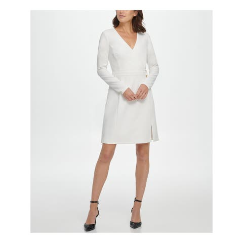 DKNY White Long Sleeve Short Sheath Dress Size 10