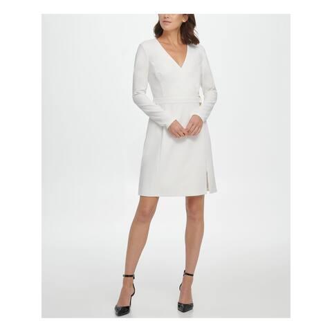 DKNY White Long Sleeve Short Sheath Dress Size 16