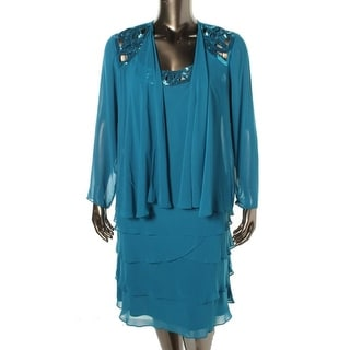 SL Fashions Womens Chiffon 2PC Dress With Jacket