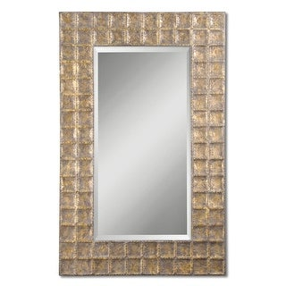 "67"" Antique Gold & Brown Glaze Metal Framed Beveled Rectangular Wall Mirror"