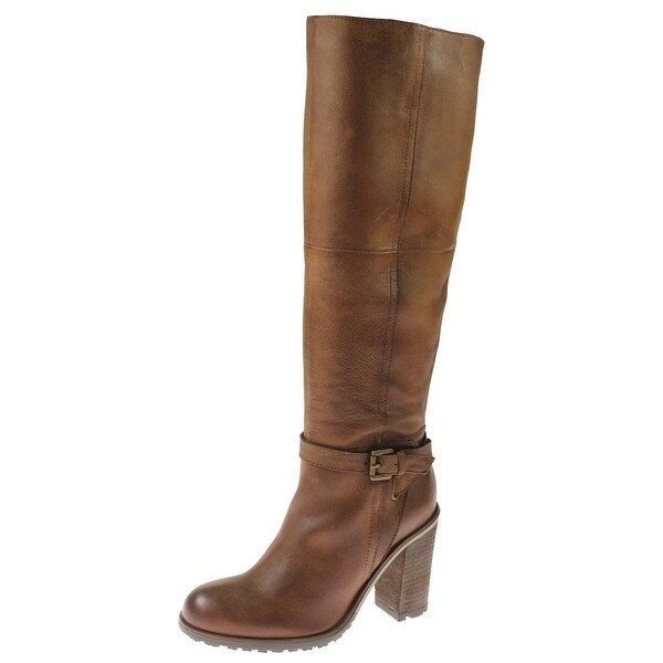 Steven By Steve Madden Womens Reloaded Knee-High Boots Leather Stacked Heel - 5 medium (b,m)