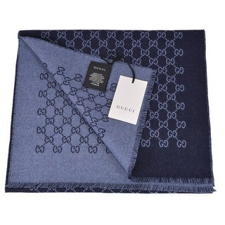 "Gucci Blue Wool Double Jacquard GG Guccissima Scarf Muffler - 69"" x 13"""