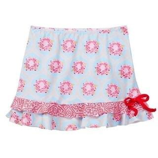 Azul Little Girls Red Blue Floral Print Tie The Girl Next Door Skirt