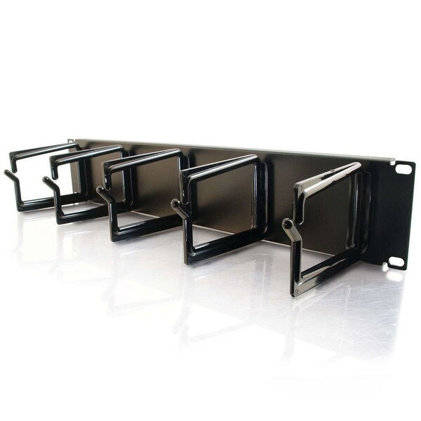 C2g 03745 2U 3.5Inch Cable Management Panel With 5 D-Rings - Black