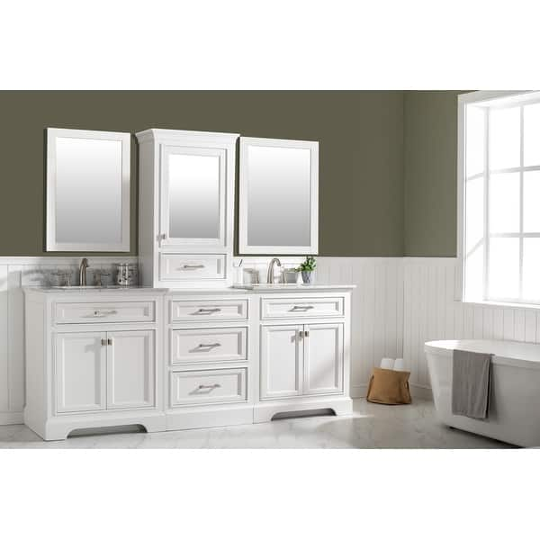 Milano 84 Double Sink Bathroom Vanity Modular Set In White Overstock 32184923