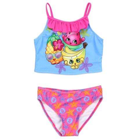 Shopkins Little Girls Blue Pink Cartoon Character Ruffle 2 Pc Swimsuit