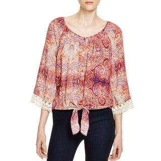 Cupio Womens Button-Down Top Printed Crochet Trim
