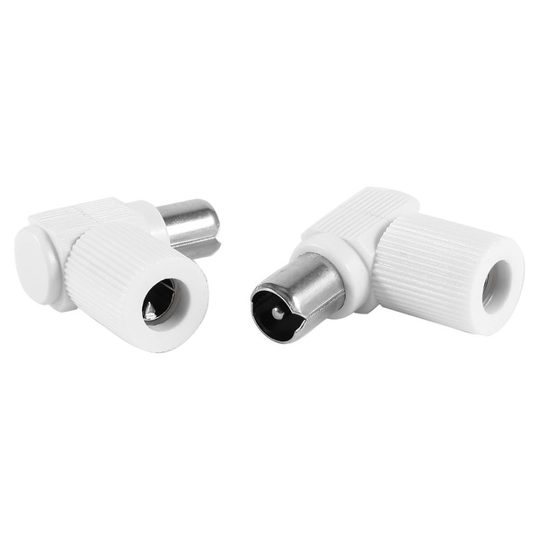 Unique Bargains 2 Pcs CATV TV PAL Male Plug Right Angle Coaxial Cable Connector Adapter