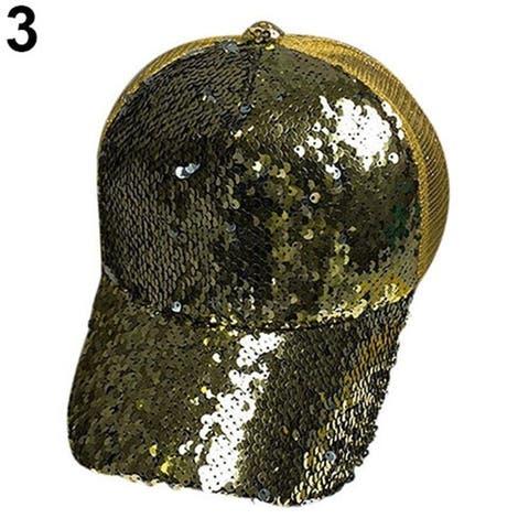 Men Women Sequin Peaked Cap Fashion Shining Sport Snapback Hip Hop Flat Hat