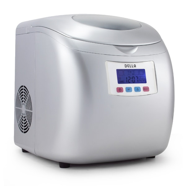 Della Portable High Capacity Household Ice Maker w/LCD Display Yield Up To 26 Pounds of Ice Daily- 3 Cube Sizes -Silver