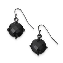 Black IP Black Epoxy Stones Leverback Dangle Earrings