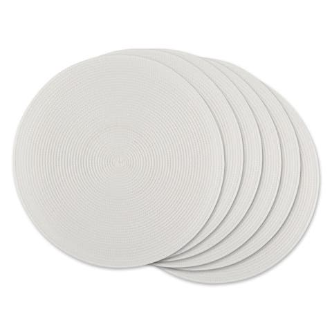 DII White Round PP Woven Placemat Set of 6